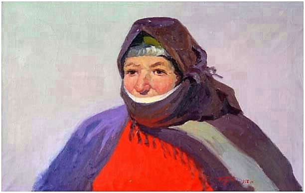 Albert Tsovyan. The portrait of an old woman from goris - 1958 oil on canvas