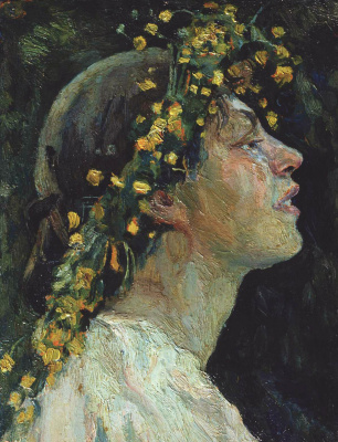 "Mikhail Vasilyevich Nesterov. Female head. Study for the painting ""Spring red"""