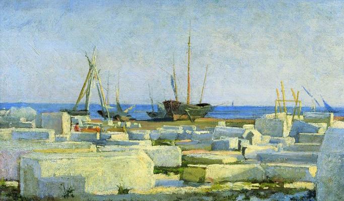 Nikolai Nikolaevich Ge. Massa-Carrara. Loading marble. Etude