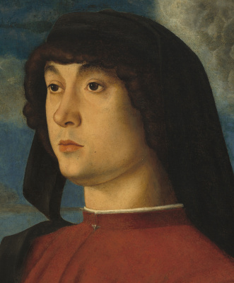 Giovanni Bellini. Portrait of a young man in red. Fragment
