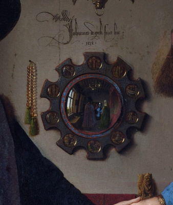 Jan van Eyck. Portrait of Arnolfini couple (fragment)
