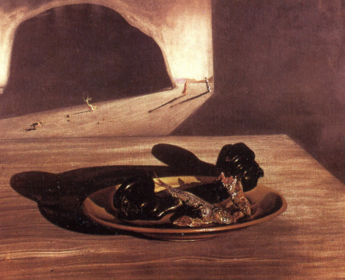 Salvador Dali. The phone on the plate with three fried sardines in late September