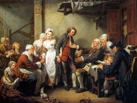 Жан-Батист Грёз. Деревенская помолвка