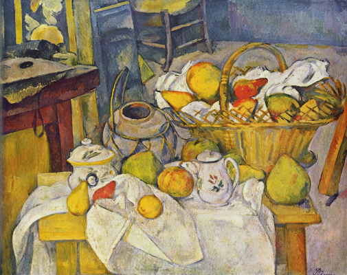 Paul Cezanne. Still life with basket of fruit