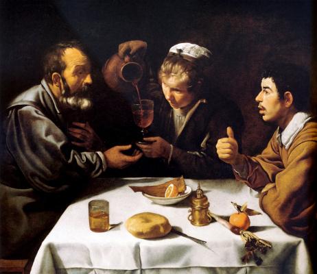Diego Velazquez. Scene in the tavern