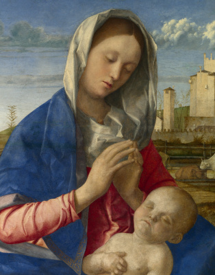 Giovanni Bellini. Madonna in the meadow. Fragment
