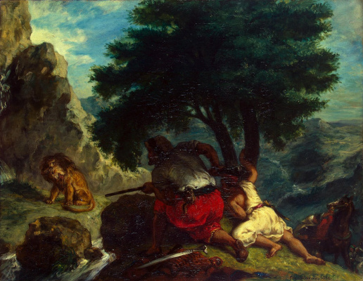 Eugene Delacroix. Hunting of lions in Morocco