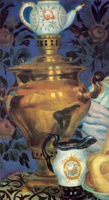 Boris Mikhailovich Kustodiev. The merchant's wife drinking tea. Fragment