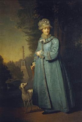 Владимир Лукич Боровиковский. Екатерина II на прогулке в Царскосельском парке (с Чесменской колонной на фоне). 1794