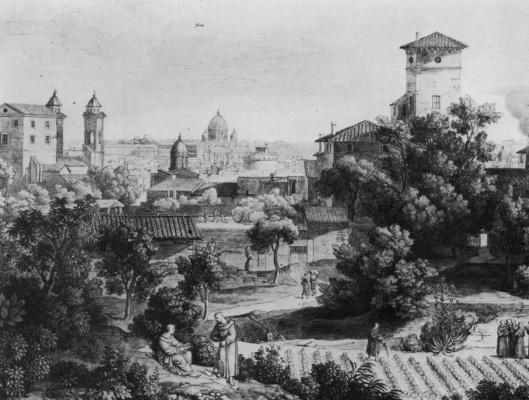 Йозеф Антон Кох. Вид от монастыря святого Исидора на Рим