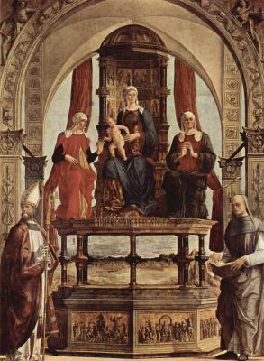 Эрколе де' Роберти. Алтарь Портуэнсе. Мадонна на троне и свв. Августин, Анна, Елизавета, Петр Дамиани