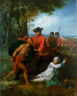 Бенджамин Уэст. Генарал Уильям Джонсон спасает жизнь барону Дискау в битве на озере Джорджа в 1755 году