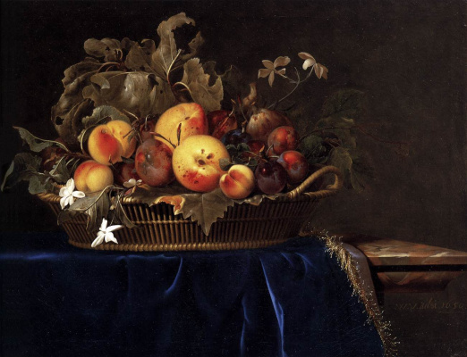 Willem van Aelst. Still life with a basket of fruit on the table