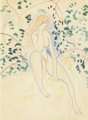 Leon Spilliaert. Nude sitting on fallen leaves (Nu assis au feuillage), 1920