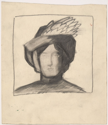 Kazimir Malevich. Woman portrait in hat with feather