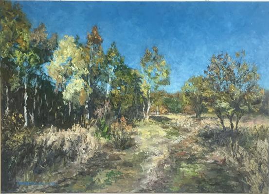Sophia Vinogradova. Painting Clarity (oil on canvas sky field Autumn nature grass path blue palette knife golden golden autumn path)