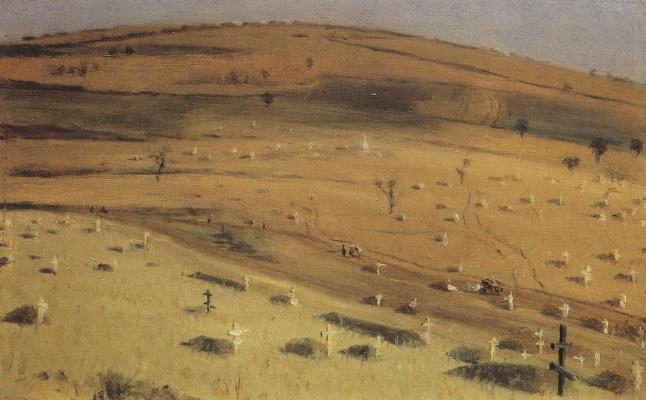 Vasily Vereshchagin. The site of the battle of July 18, 1877 in front of Krisinski redoubt at Plevna. Etude