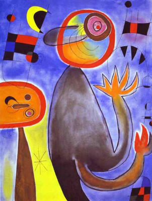 Joan Miro. Stairs across the blue sky at the wheel of fire