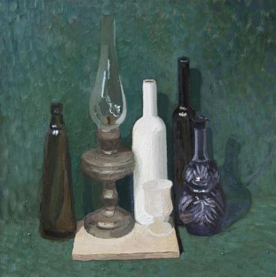 Ekaterina Anatolyevna Kudryavtseva. Still life with kerosene lamp 70x70 oil on canvas, 2014