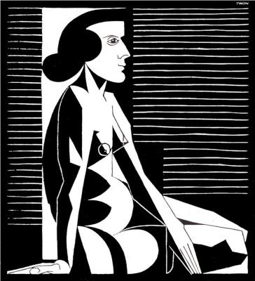 Maurits Cornelis Escher. Seated nude