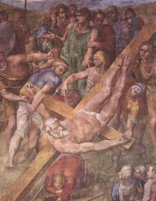 Michelangelo Buonarroti. The crucifixion of Saint Peter (detail)