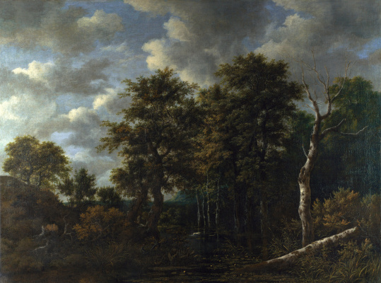 Jakob van Isaacs Ruisdael. A pond surrounded by trees and a hound catching up a hare