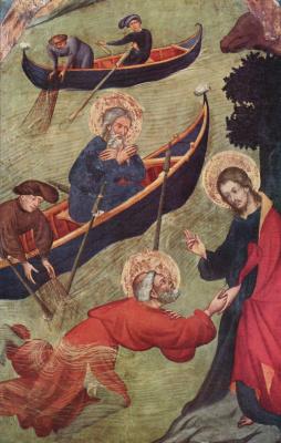 Луис Боррасса. Алтарь святого Петра: Иисус поддерживает Петра при хождении по водам