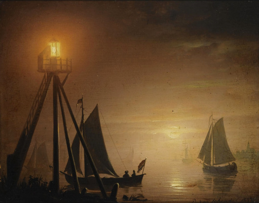 Petrus van Shendel. Boats in the moonlight. 1847