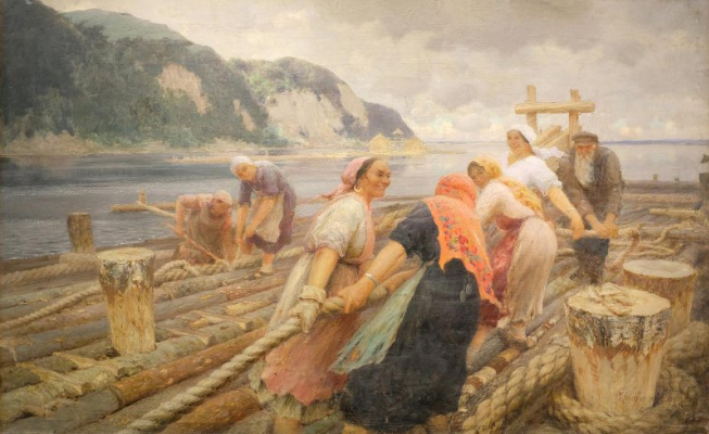 Kondrat Evdokimovich Maksimov. On rafts