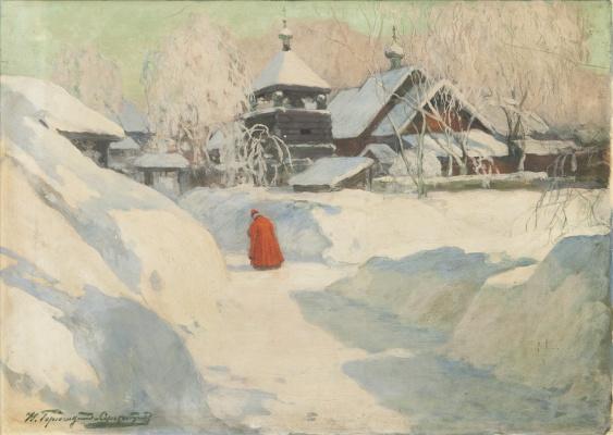 Иван Горюшкин-Сорокопудов. Обитель зимой.  1-я треть ХХ в. смешанная техника