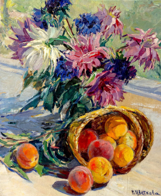 Valentina Petrovna Tsvetkova. Peaches and dahlias. 1965