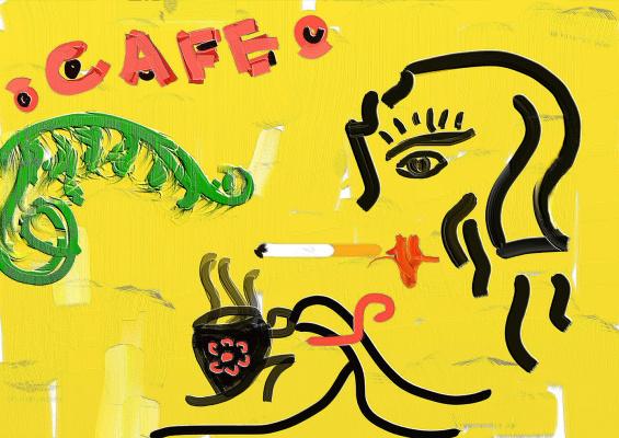 Random Human. A cafe