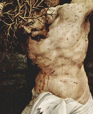 Matthias Grünewald. The crucifixion, detail