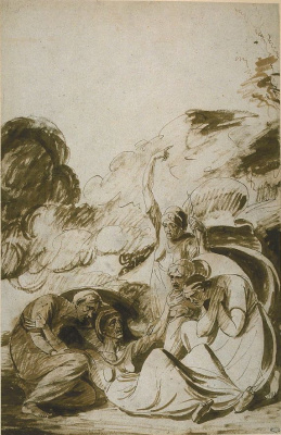 George Romney. The defeated witch. Sketch