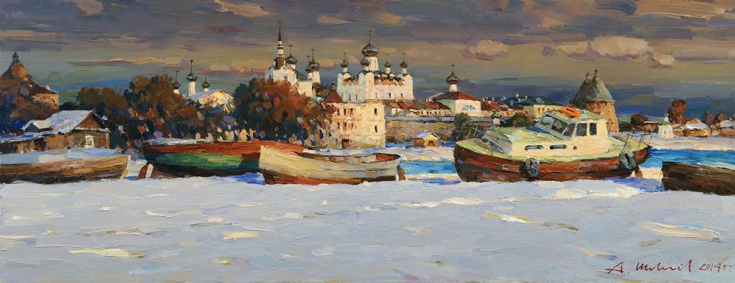 Alexander Victorovich Shevelyov. Spring Solovki. Oil on canvas 37 x 95 cm. 2014