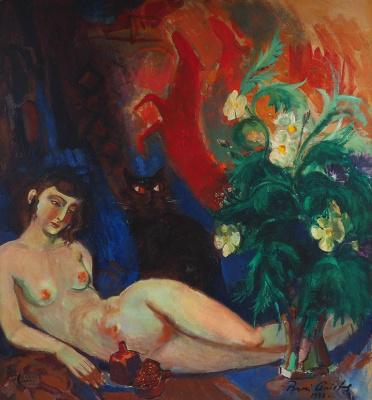 Boris Izrailevich Anisfeld. Nude with flowers and cat. 1941
