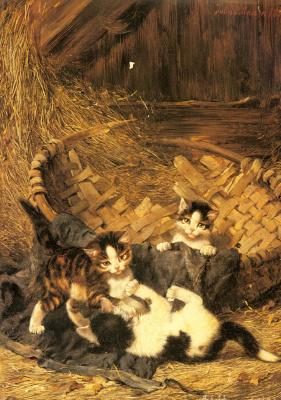 Юлиус Адам. Игривые котята в корзине