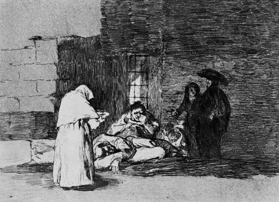 "Francisco Goya. The series ""disasters of war"", page 49: the Mercy of women"