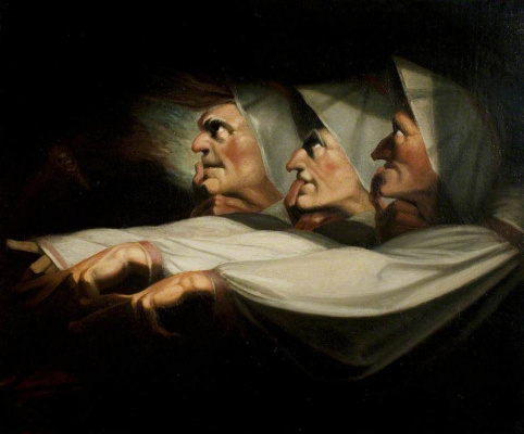 Johann Heinrich Fuessli. The three witches (Macbeth, act I, scene 3)