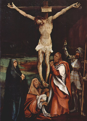 Matthias Grünewald. The crucifixion of Christ, scene: Christ on the cross, the Three Marys, St. John the Evangelist and St. Longinus