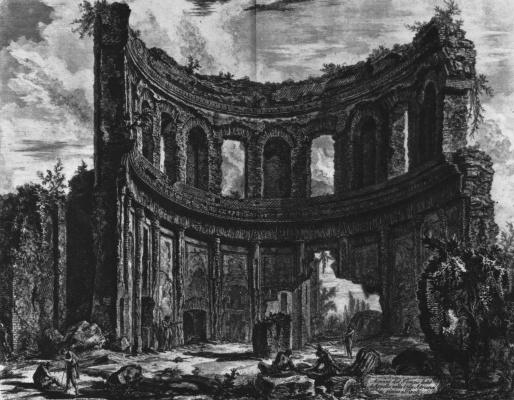 Giovanni Battista Piranesi. So nazvannogo ruins of the temple of Apollo at Hadrian's Villa
