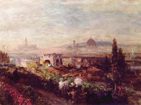 Освальд Ахенбах. Вид Флоренции