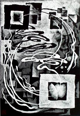 "Vladimir Kataev. ""1"", 66 x 46, linocut, 2010"