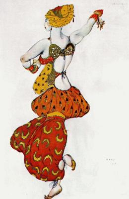 Лев Самойлович Бакст (Леон Бакст). Эскиз костюма к балету Шехерезада - Одалиска