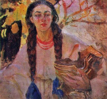 Fedor Grigorievich Krichevsky. Portrait of a girl with braids