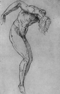 Raphael Santi. Studies the Nude figure of a hanged man