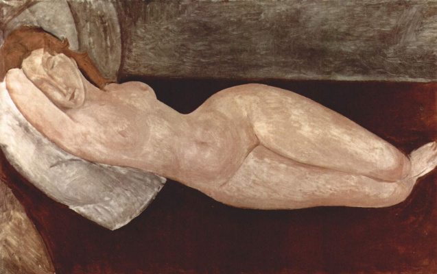 Amedeo Modigliani. Reclining Nude, resting head on right hand