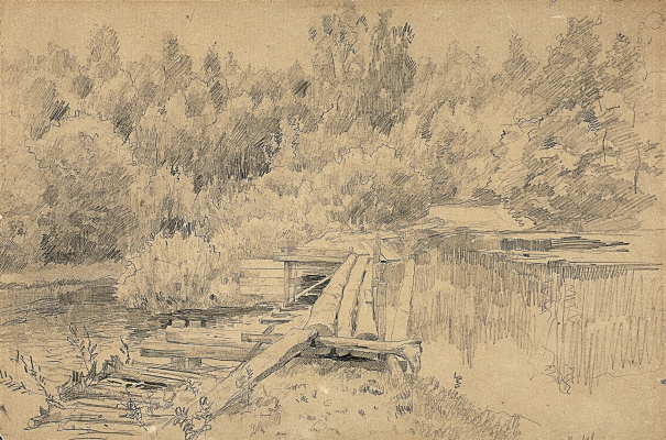 Isaac Levitan. At the pool. A sketch of the same picture