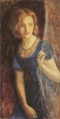 Arthur Hughes. Charming girl in a blue dress