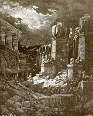 Paul Gustave Dore. Illustration to the Bible: The Fall of Babylon